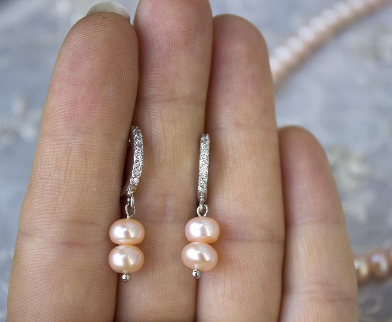 Серебро и жемчуг персиковый комплект Белый натуральный жемчуг, сереб Гармаш Елена - фото 4