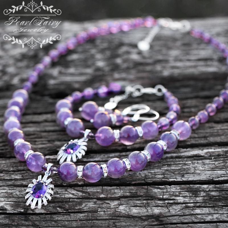Браслет из натуральных аметистов и цирконов Фиолетовый Браслет из натуральных ам Гармаш Елена - фото 5