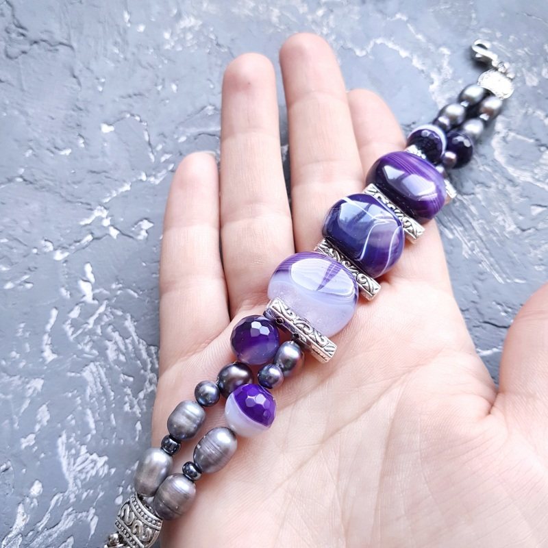 Веснаня колекція браслет з натуральних перлів та кварцу Фіолетовий натуральний кварц, натура Гармаш Олена - фото 5