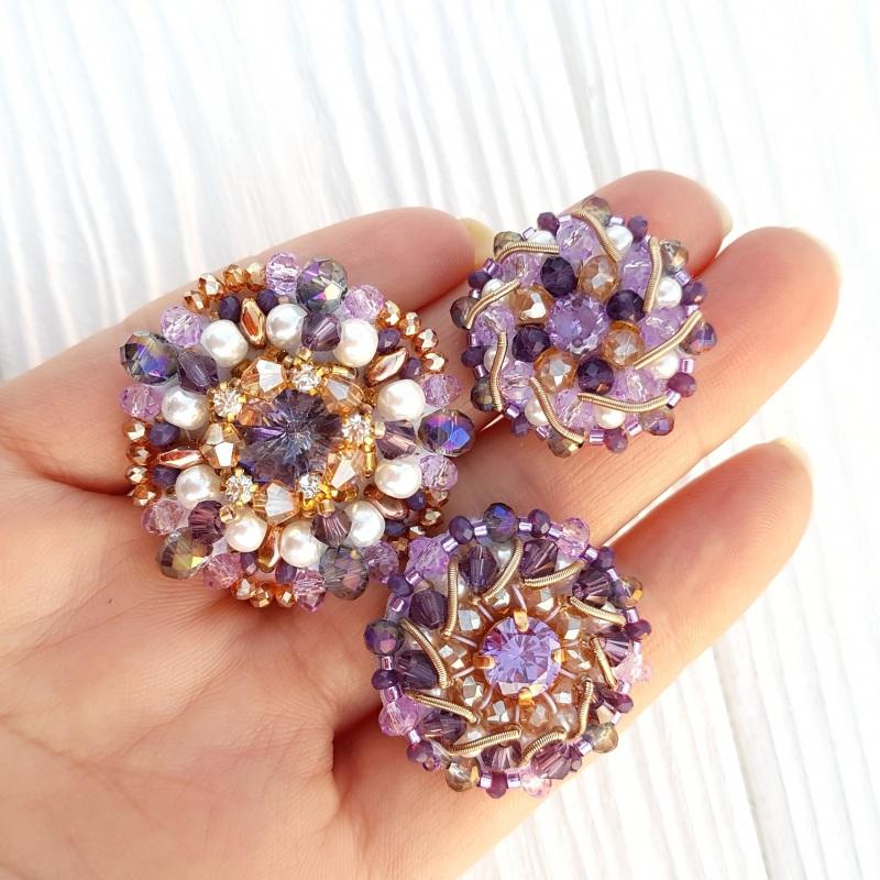 Сет 3 броши с кристаллами Swarovski: цвет на заказ Разноцветный хрустальные бусинки, крис Гармаш Елена - фото 3