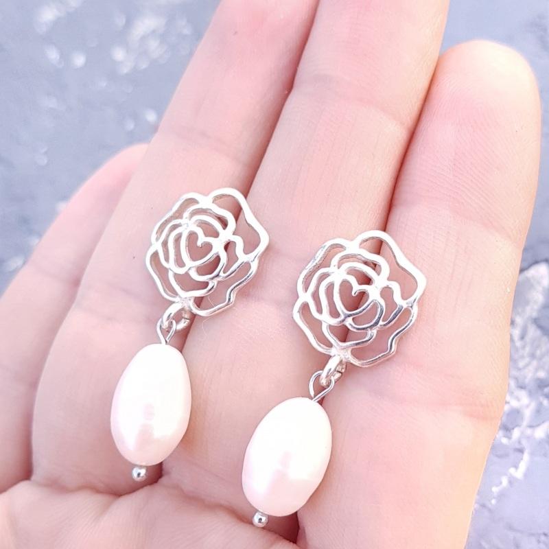Серебряные серьги с натуральным жемчугом и розами Белый серебро 925, натуральный Гармаш Елена - фото 6