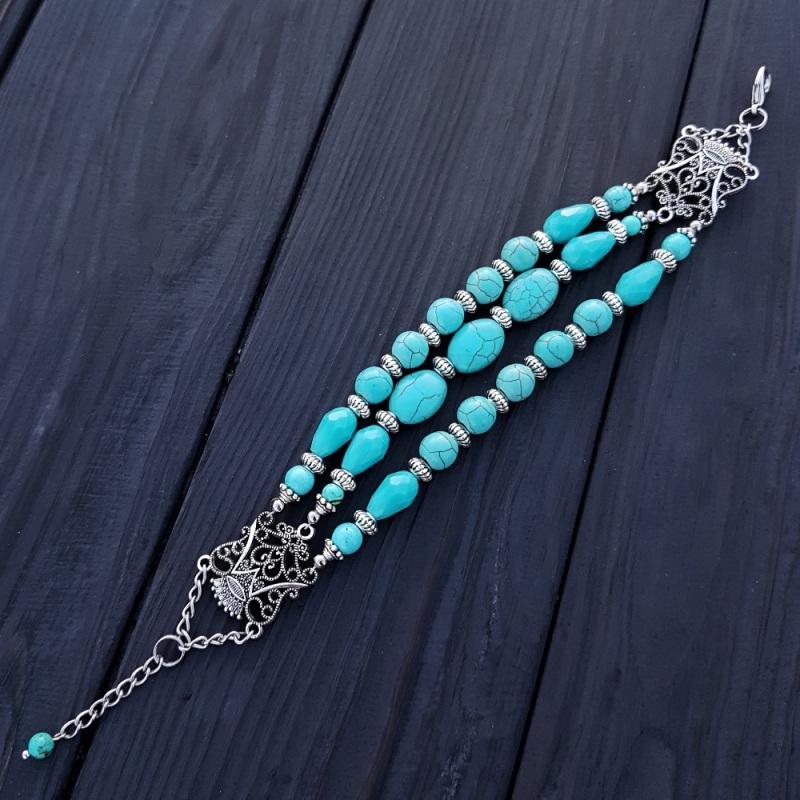 Комплект браслет и серьги из бирюзы и кристаллов Голубой Бирюза синтетическая, хру Гармаш Елена - фото 4