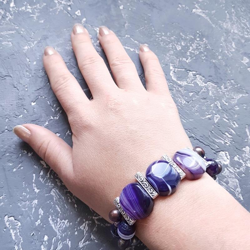 Веснаня колекція браслет з натуральних перлів та кварцу Фіолетовий натуральний кварц, натура Гармаш Олена - фото 1