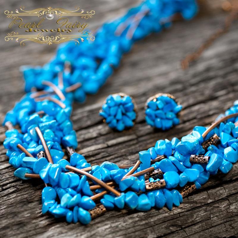 Ожерелье из бирюзы семирядне пышное Голубой Бирюза синтетическая, мет Гармаш Елена - фото 1