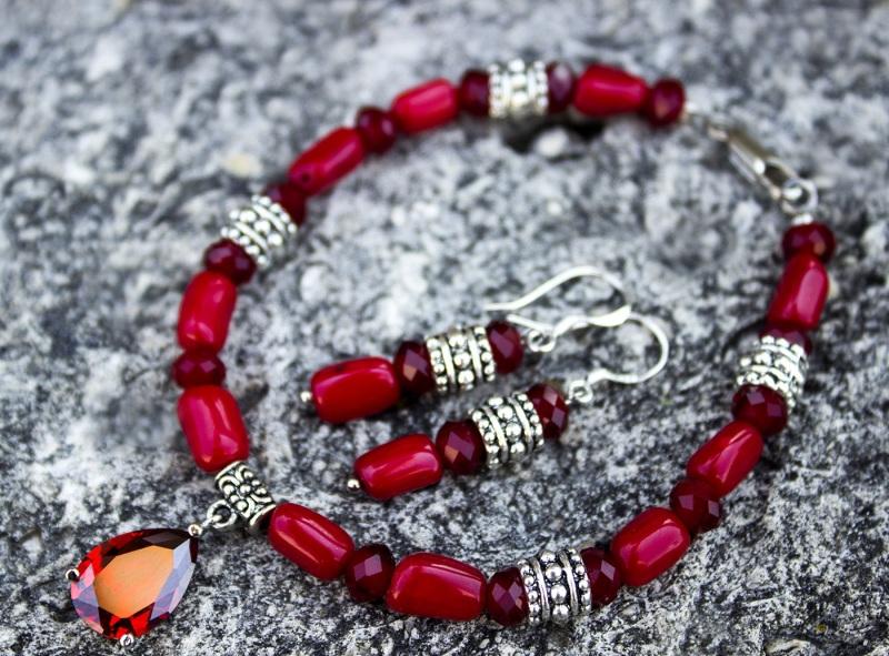 Комплект натуральный коралл браслет и серьги Красный натуральный коралл, метал Гармаш Елена - фото 2