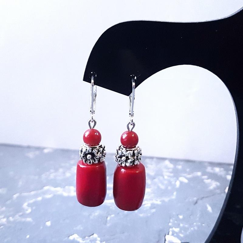 Серьги с натуральными кораллами и серебряными Красный Натуральные кораллы, мета Гармаш Елена - фото 3