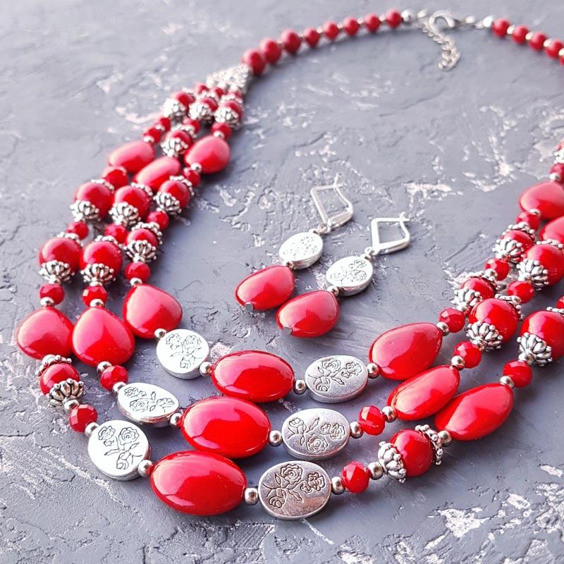 Комплект коралловый колье и серьги Красный Искусственные кораллы, хр Гармаш Елена - фото 1