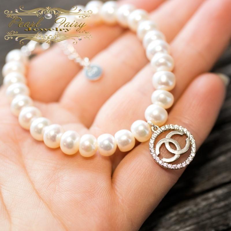 Браслет натуральный жемчуг и серебро 925 с цирконами Белый натуральный белый жемчуг, Гармаш Елена - фото 2