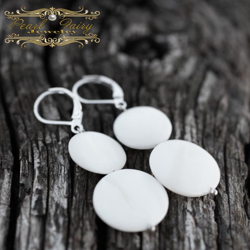 Серебряные серьги Снеговички из натурального перламутра Белый Натуральный белый перламу Гармаш Елена - фото 2