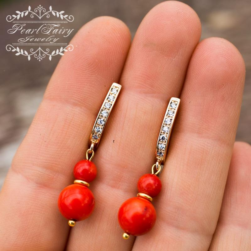 Позолоченные серьги натуральные кораллы и кристаллы Красный позолота, металлическая ф Гармаш Елена - фото 2
