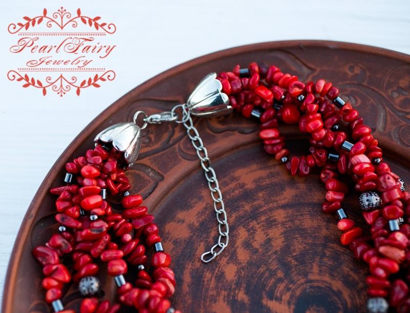 Пятирядное ожерелье из натуральных кораллов и гематита Красный натуральные кораллы, гема Гармаш Елена - фото 3
