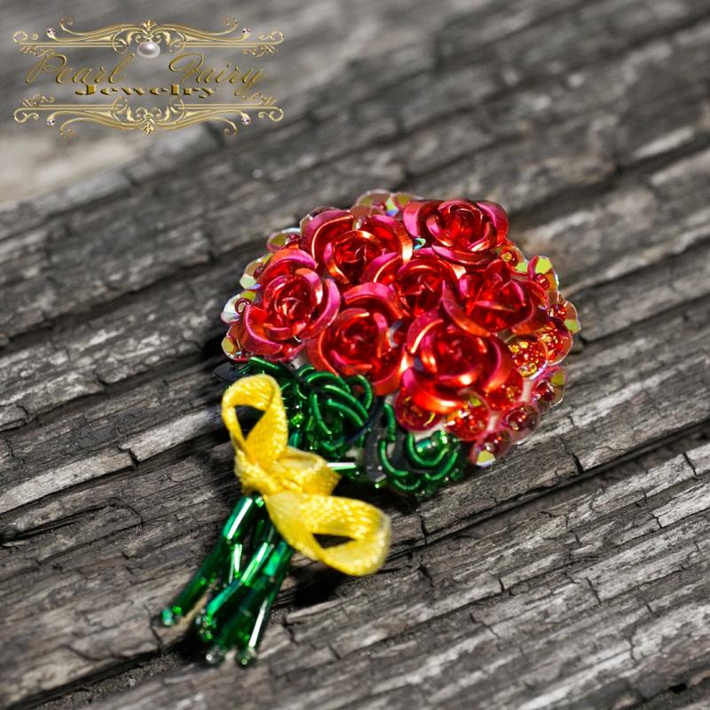 Брошь букет роз подарок любимой на 8 марта Разноцветный Розы металлические, пайет Гармаш Елена - фото 2