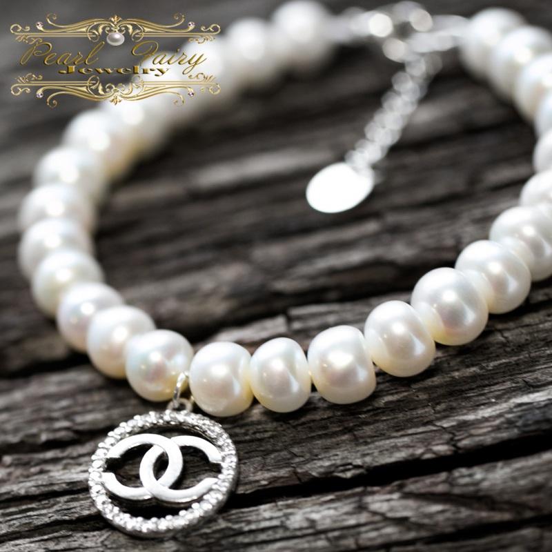 Браслет натуральный жемчуг и серебро 925 с цирконами Белый натуральный белый жемчуг, Гармаш Елена - фото 1