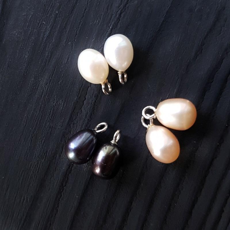 Сережки з натуральними білими чи чорними перлами та кристалами Чорний на вибір колір перлин біл Гармаш Олена - фото 2