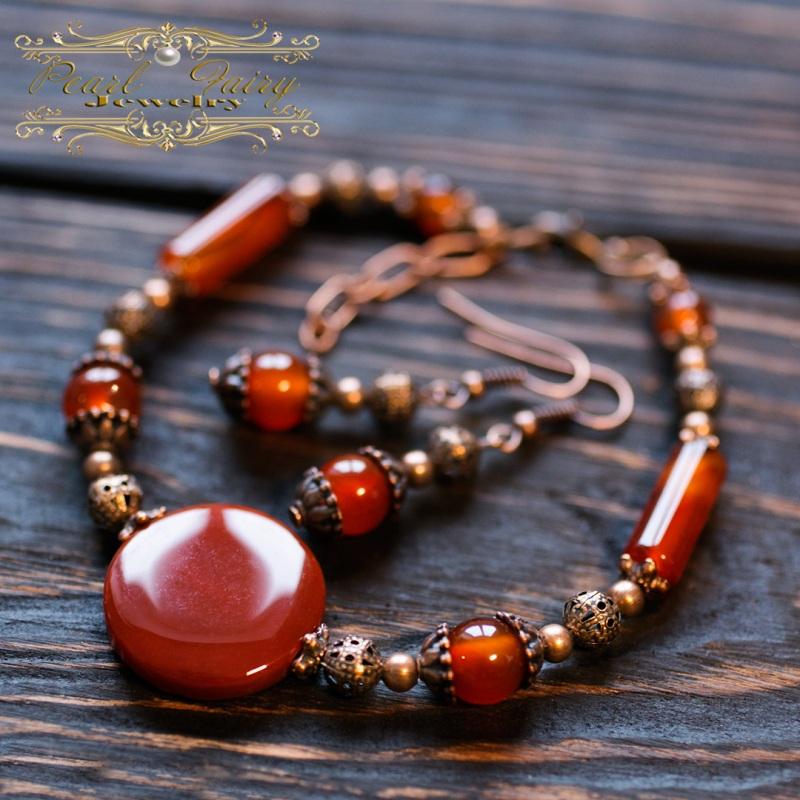 Комплект из натурального сердолика браслет и серьги Красный натуральный сердолик (кар Гармаш Елена - фото 1