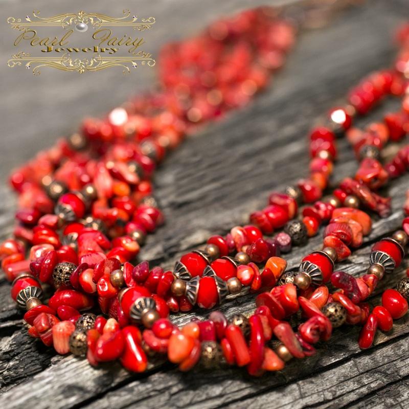 Длинные бусы из натуральных кораллов пятирядные Красный натуральные кораллы, хрус Гармаш Елена - фото 1