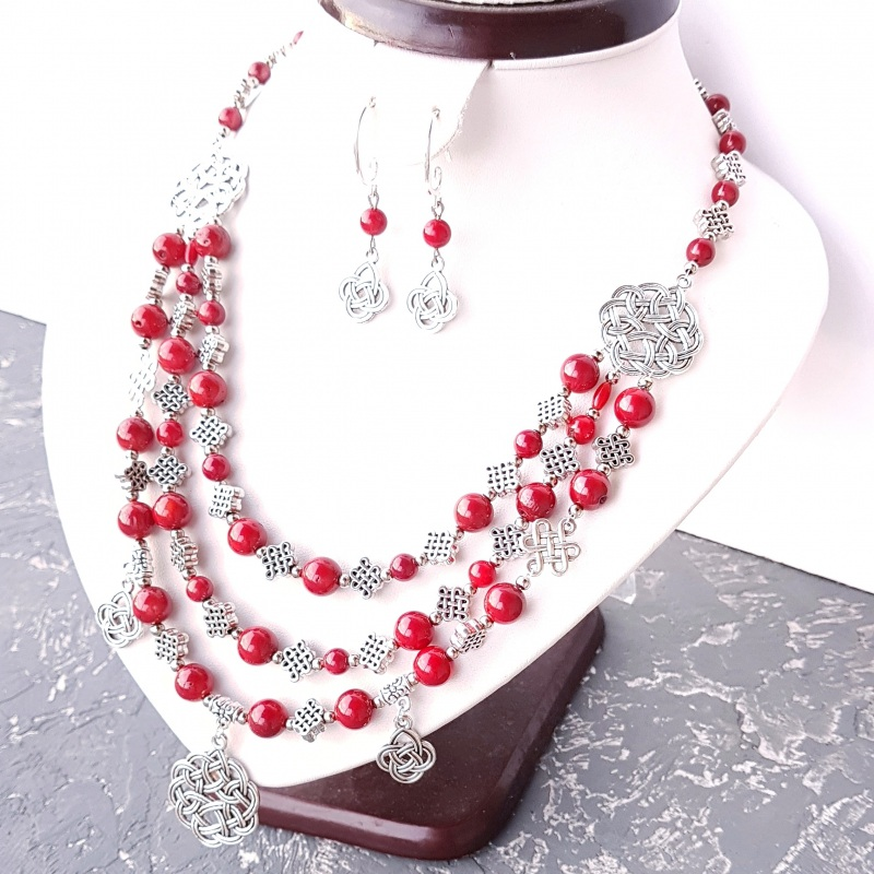 Ожерелье из натурального коралла с подвесками Красный натуральные кораллы, мета Гармаш Елена - фото 3