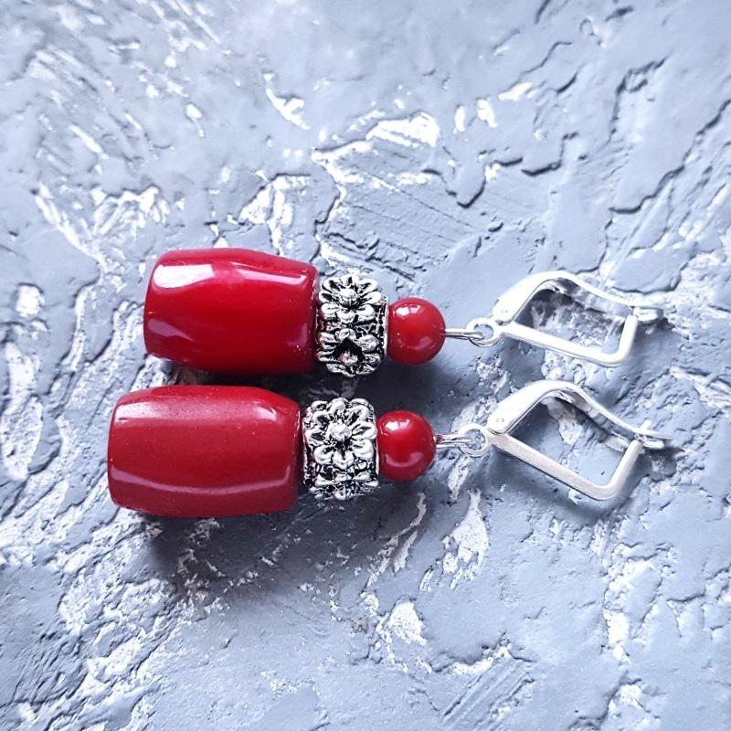 Серьги с натуральными кораллами и серебряными Красный Натуральные кораллы, мета Гармаш Елена - фото 6