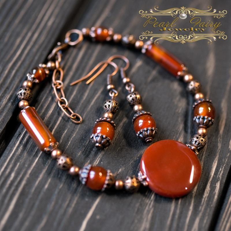 Комплект из натурального сердолика браслет и серьги Красный натуральный сердолик (кар Гармаш Елена - фото 2
