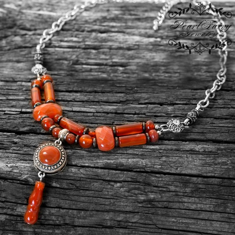 Долгое стильное колье натуральный сердолик  натуральный сердолик, мет Гармаш Елена - фото 2