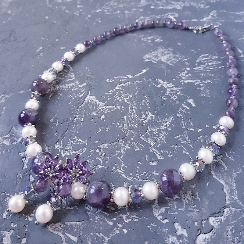 Намисто з натуральних перлів та аметисту  Фіолетовий Натуральні перли, натурал Гармаш Олена - фото 4