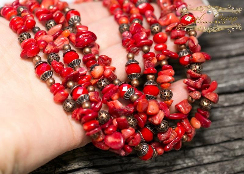 Длинные бусы из натуральных кораллов пятирядные Красный натуральные кораллы, хрус Гармаш Елена - фото 3