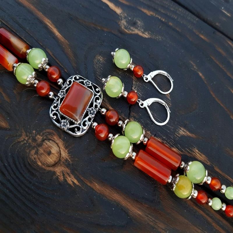 Комплект из натурального сердолика браслет, серьги Разноцветный Натуральный сердолик, неф Гармаш Елена - фото 4