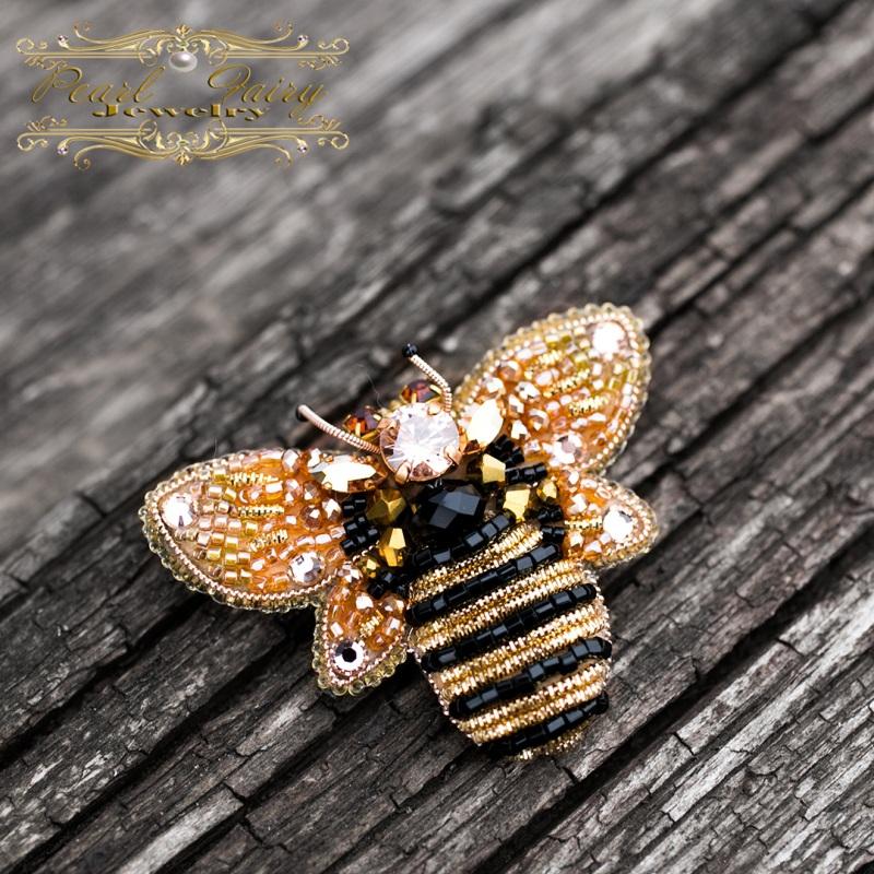 Брошь с кристаллами Swarovski пчелка Разноцветный Брошь пчела, расшитая кри Гармаш Елена - фото 5