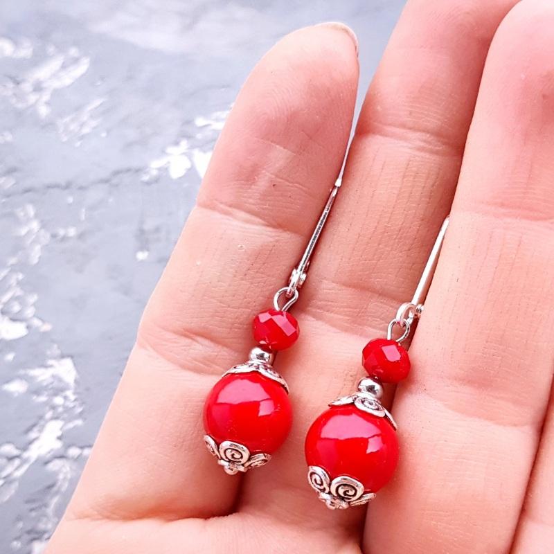 """Комплект """"Заграй!"""" ожерелье, браслет, серьги с серебряными застежками Красный кораллы имитация, металли Гармаш Елена - фото 5"""