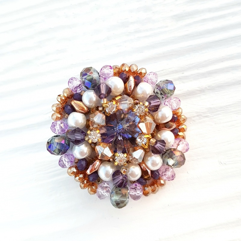 Сет 3 броши с кристаллами Swarovski: цвет на заказ Разноцветный хрустальные бусинки, крис Гармаш Елена - фото 5