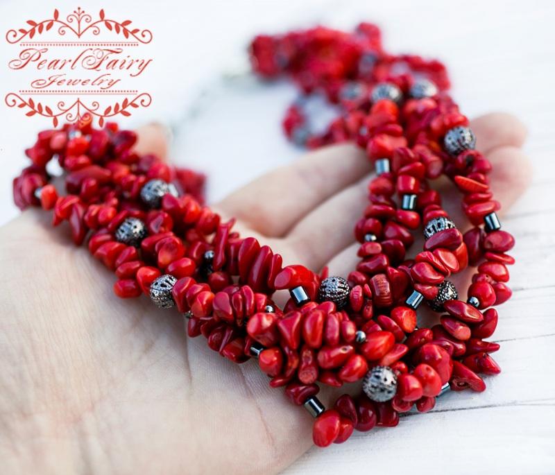 Пятирядное ожерелье из натуральных кораллов и гематита Красный натуральные кораллы, гема Гармаш Елена - фото 5