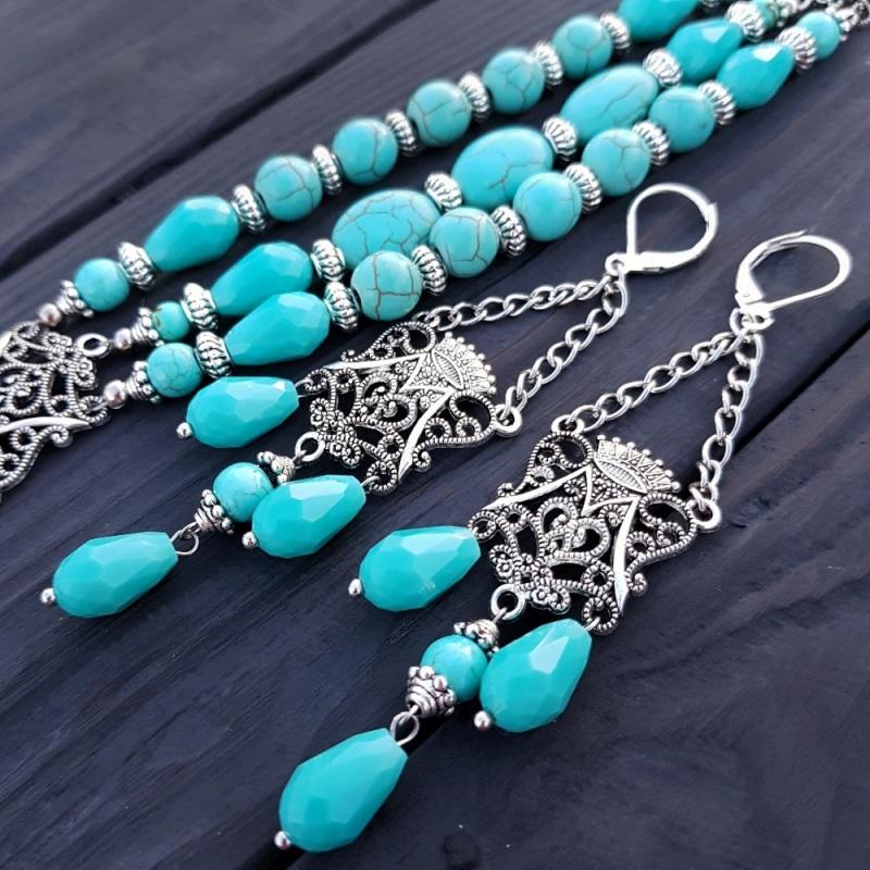 Комплект браслет и серьги из бирюзы и кристаллов Голубой Бирюза синтетическая, хру Гармаш Елена - фото 1