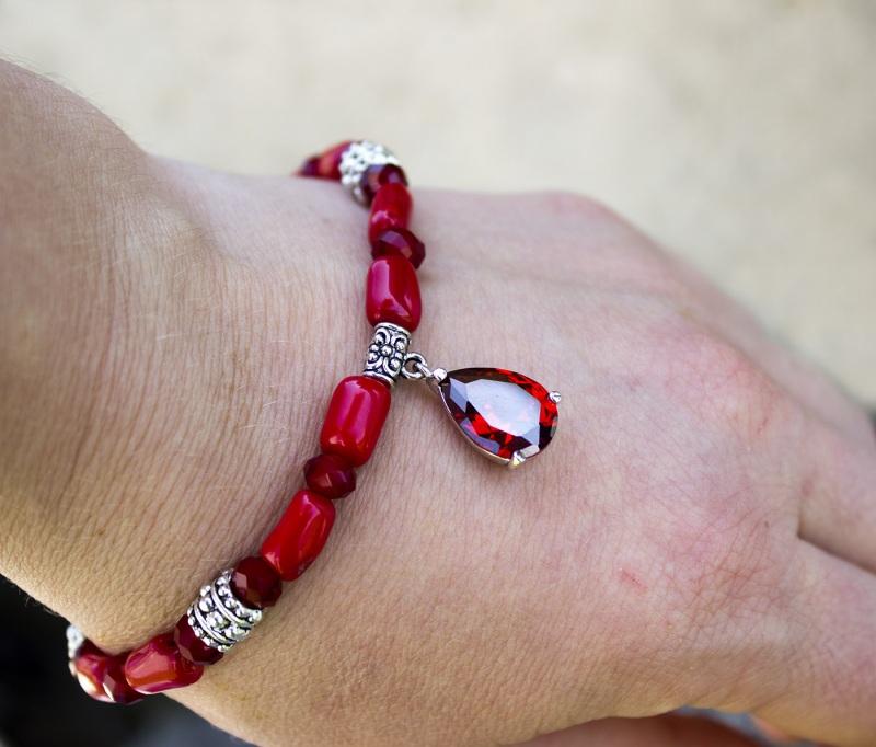 Комплект натуральный коралл браслет и серьги Красный натуральный коралл, метал Гармаш Елена - фото 3