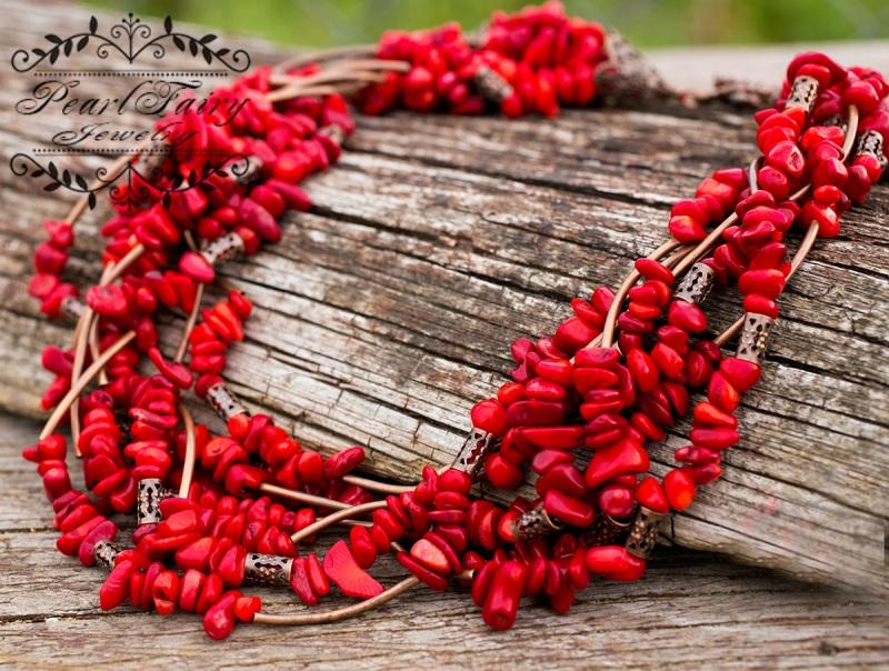 Ожерелье семирядное натуральные кораллы Красный натуральные кораллы, фурн Гармаш Елена - фото 3