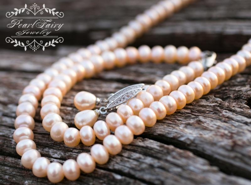 Комплект из натуральных персиковых жемчуга высокого качества Белый натуральные персиковые же Гармаш Елена - фото 4