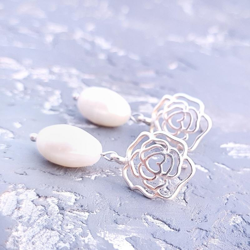 Серебряные серьги с натуральным жемчугом и розами Белый серебро 925, натуральный Гармаш Елена - фото 2