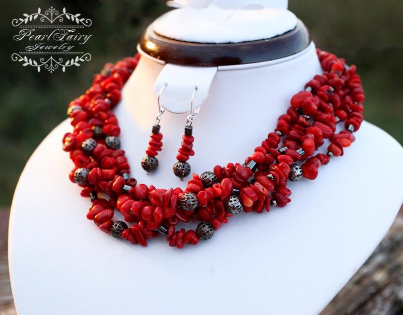 Комплект: натуральные кораллы пятирядные ожерелье и серьги Красный натуральные кораллы, мета Гармаш Елена - фото 2