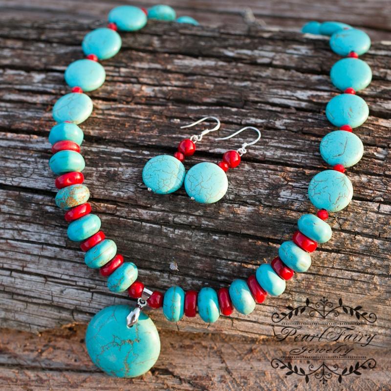 Комплект бирюза и натуральные кораллы ожерелье серьги Разноцветный бирюза прессованная, кора Гармаш Елена - фото 4