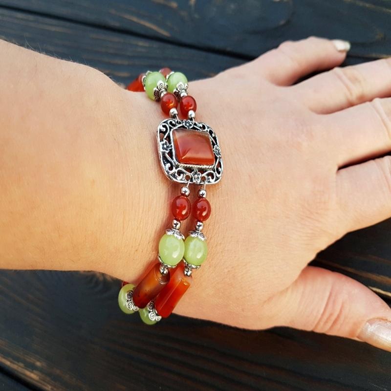 Комплект из натурального сердолика браслет, серьги Разноцветный Натуральный сердолик, неф Гармаш Елена - фото 3