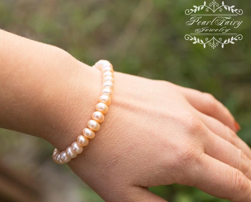 Комплект из натуральных персиковых жемчуга высокого качества Белый натуральные персиковые же Гармаш Елена - фото 2