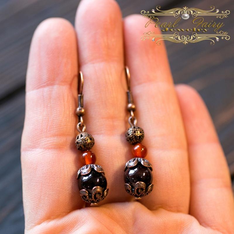 Комплект из натурального граната, сердолика браслет серьги Красный Натуральный гранат высоко Гармаш Елена - фото 2