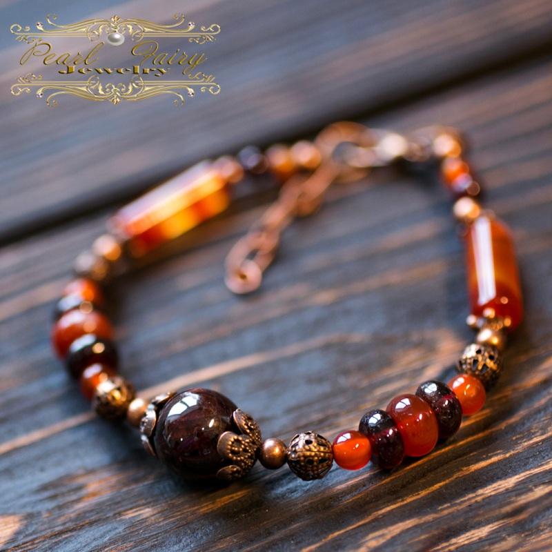 Комплект из натурального граната, сердолика браслет серьги Красный Натуральный гранат высоко Гармаш Елена - фото 3