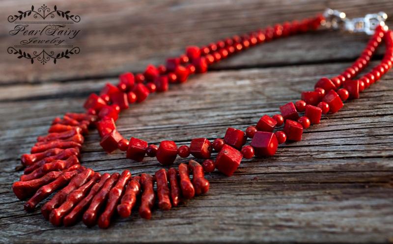 Ожерелье из натуральных кораллов Надра Красный натуральные кораллы, мета Гармаш Елена - фото 3