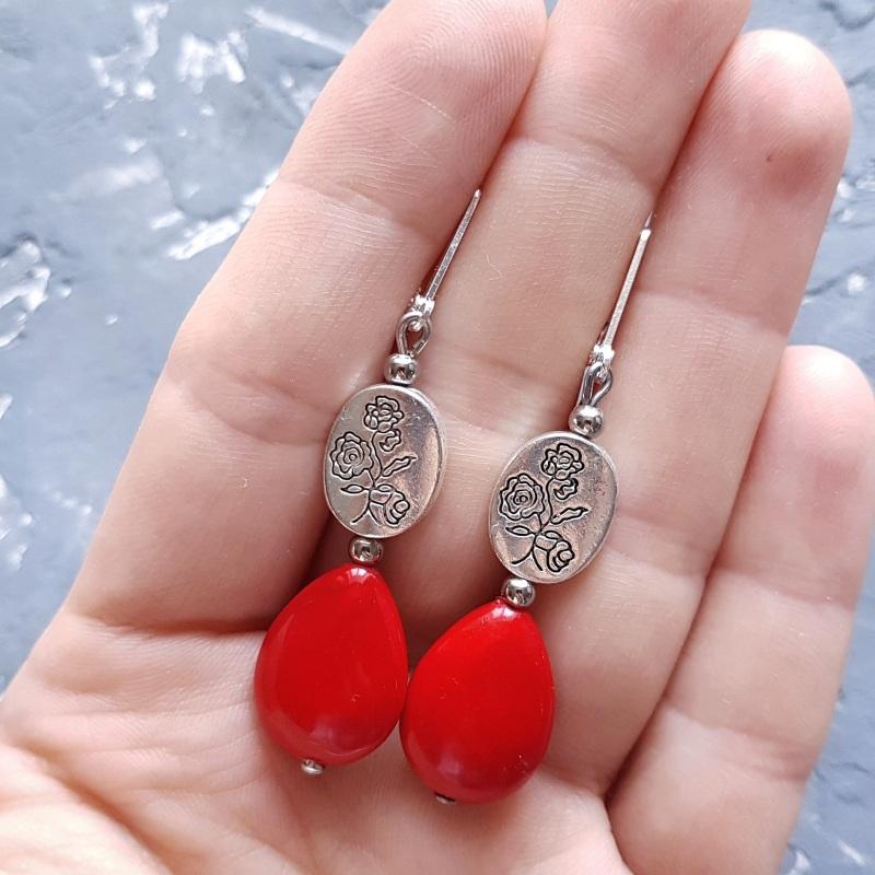 Серьги с кораллами и серебряными застежками и с розами Красный искусственные кораллы, ме Гармаш Елена - фото 4