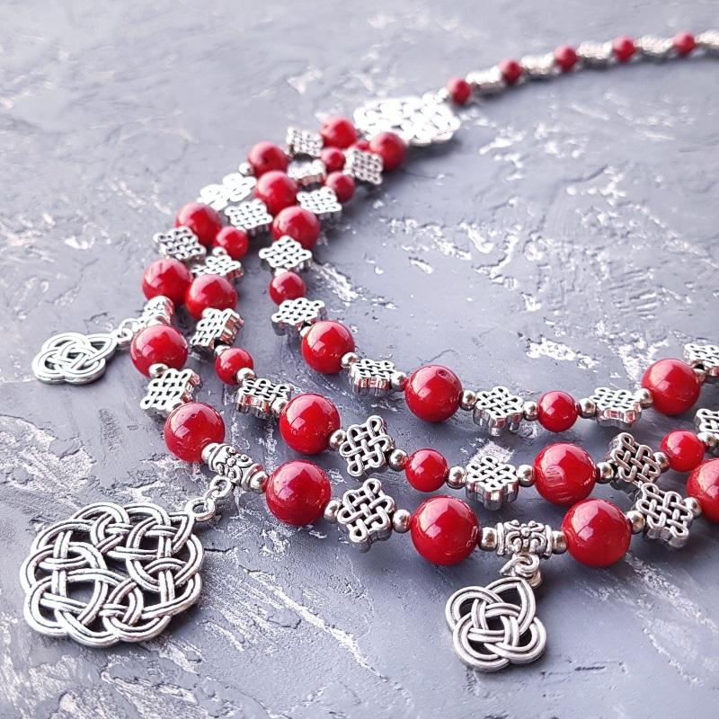 Ожерелье из натурального коралла с подвесками Красный натуральные кораллы, мета Гармаш Елена - фото 1
