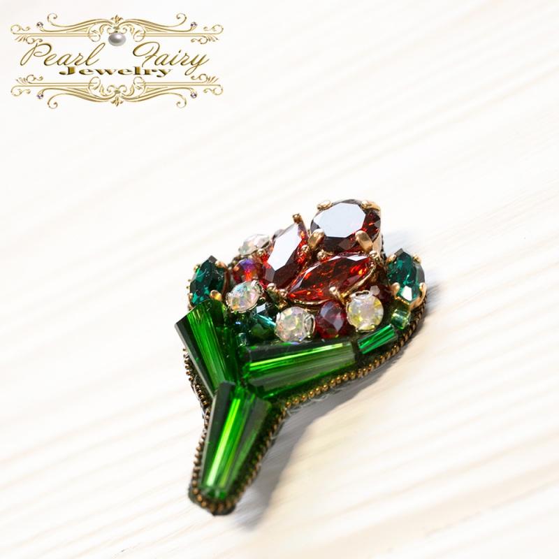 Брошь букет с кристаллами Swarovski и цирконами Зеленый Кристаллы Swarovski, крис Гармаш Елена - фото 3