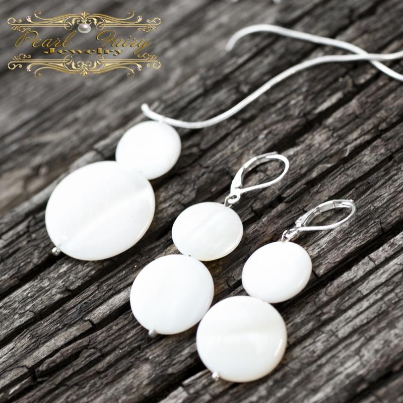 Серебряные серьги Снеговички из натурального перламутра Белый Натуральный белый перламу Гармаш Елена - фото 4
