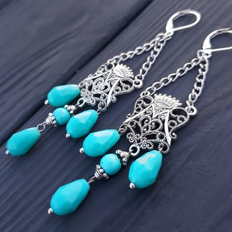 Комплект браслет и серьги из бирюзы и кристаллов Голубой Бирюза синтетическая, хру Гармаш Елена - фото 5