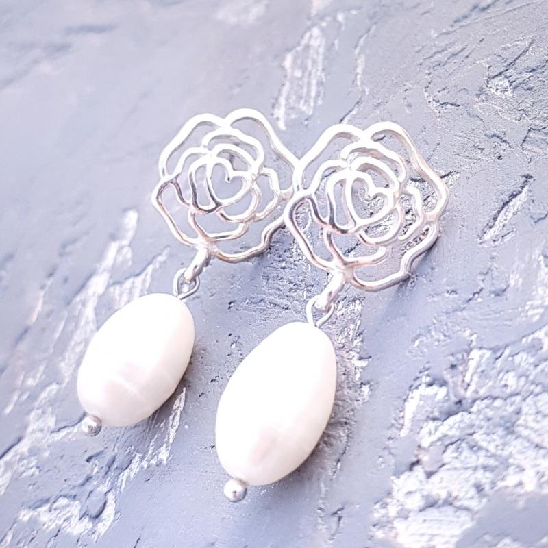 Серебряные серьги с натуральным жемчугом и розами Белый серебро 925, натуральный Гармаш Елена - фото 4