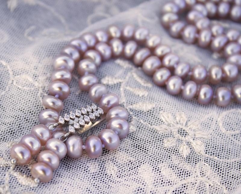 Серебро и натуральный жемчуг лавандовый комплект Фиолетовый натуральный жемчуг, сереб Гармаш Елена - фото 1